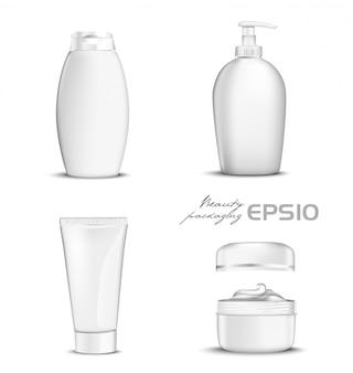 Premium-kosmetik setzt weiße farbe auf hintergrund. illustrationsflasche für shampoo, verpackung für seife offene runde verpackung mit creme im inneren, tube für zahnpasta oder kosmetik