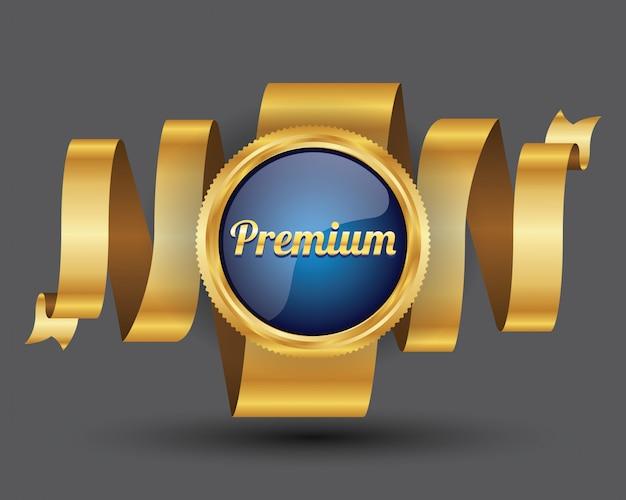 Premium-label und abzeichen goldrand mit banner-band