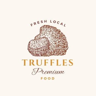 Premium-lebensmittel abstraktes zeichensymbol oder logo-vorlage handgezeichnete trüffelpilze mit typografie edib...