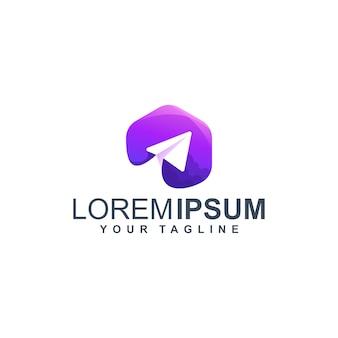 Premium lila flugzeug logo