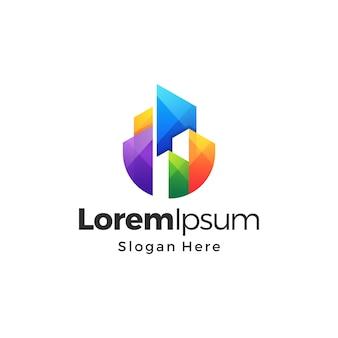 Premium-logo-design mit farbverlauf für immobiliengebäude