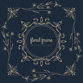 Premium-logo mit floralem rahmen