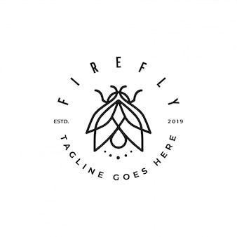 Premium-logo mit monogramm- oder monoline-glühwürmchen