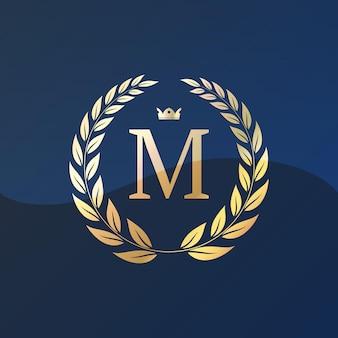 Premium-logo, monogramm für firmenbranding mit lorbeerkranz. vektor-illustration.