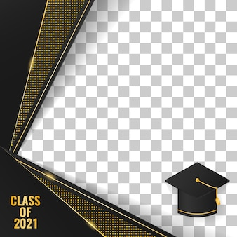 Premium-luxus-abschlussklasse 2021 social-media-rahmendesign mit geometrischer form und abstrakten goldenen punkten