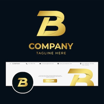 Premium luxus brief initiale b logo vorlage für unternehmen