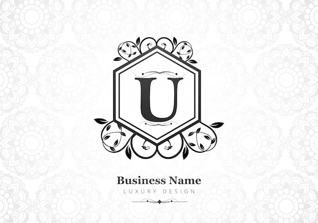 Premium luxus buchstabe u logo für unternehmen