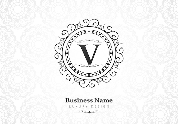 Premium luxus buchstabe v logo für unternehmen