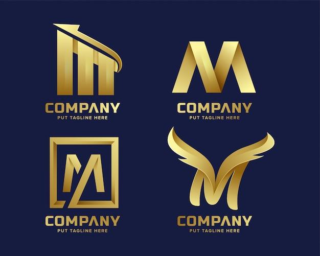 Premium luxus creative letter m logo für unternehmen