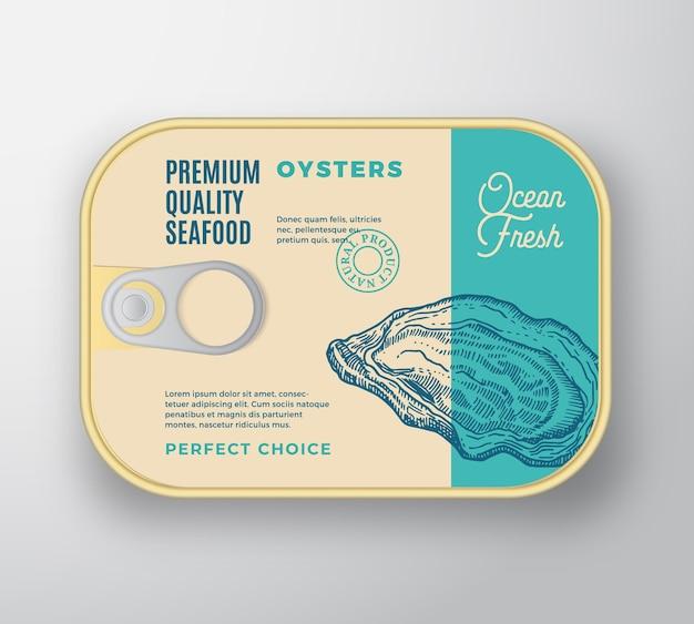 Premium-meeresfrüchte-aluminiumbehälter mit etikettendeckel.