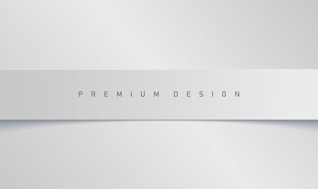 Premium minimalistischer moderner weißer hintergrund mit papierstreifenbanner