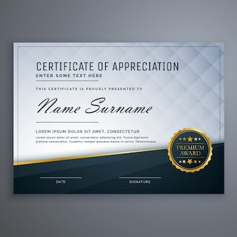 Premium-moderne anerkennungsurkunde template-design