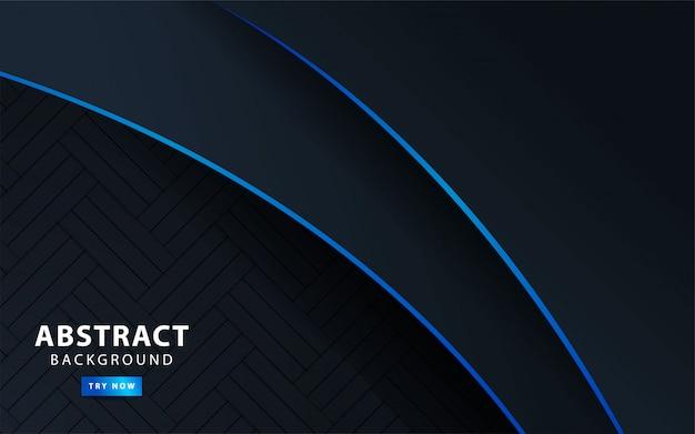 Premium moderne dunkle abstrakte hintergrundfahne mit blauer linie. illustration.
