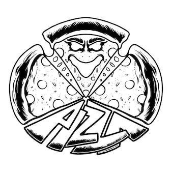 Premium monster pizza vektor-illustration-t-shirt-design