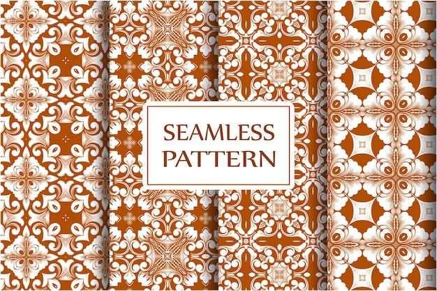 Premium nahtlose musterkollektion für tapeten textilverpackung exquisite blumen barock vorlage