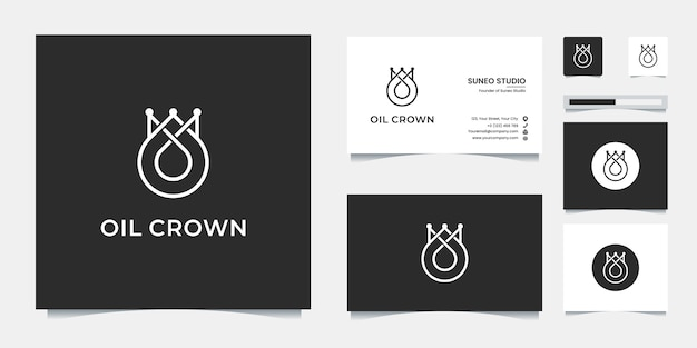 Premium-ölkrone linie stil logo-design und visitenkarte