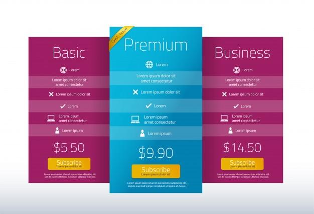Premium-preistabelle mit drei paketen
