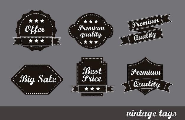 Premium-qualität etiketten über grauem hintergrund vektor