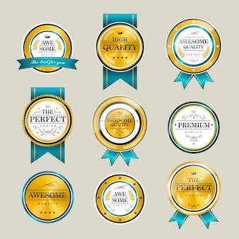 Premium-qualität funkelnde goldene etikettenkollektion über grau