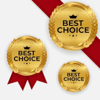 Premium-qualität goldmedaille bad.set label best choice isolated