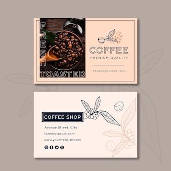 Premium qualität kaffee visitenkarte horizontal