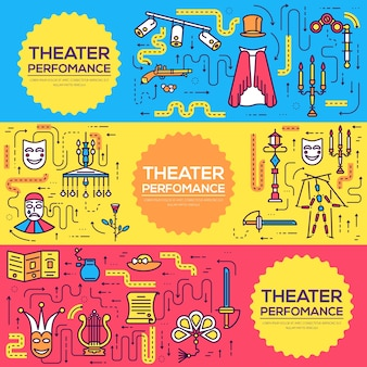 Premium-qualität theater gliederung ikonen infografik-set