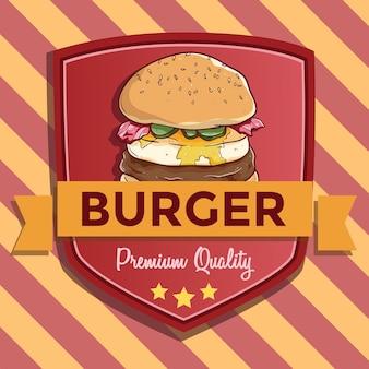 Premium-qualität von burger für das banner oder abzeichen