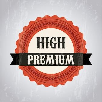 Premium-qualitätslabel auf grauem hintergrund