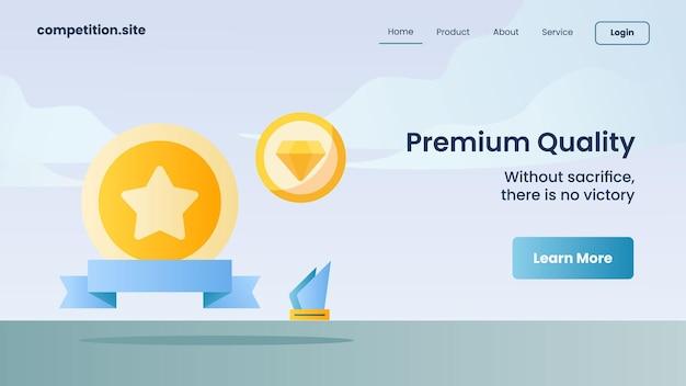 Premium-qualitätspreis mit slogan ohne opfer, es gibt keinen sieg für die vektorgrafik der website-vorlage, die die homepage landet