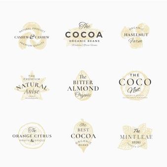 Premium qualituy gewürze, nüsse und früchte etiketten set. abstrakte zeichen, symbole oder logo-vorlagen. elegante handgezeichnete skizze sillhouette mit retro-typografie. vintage luxus embleme.