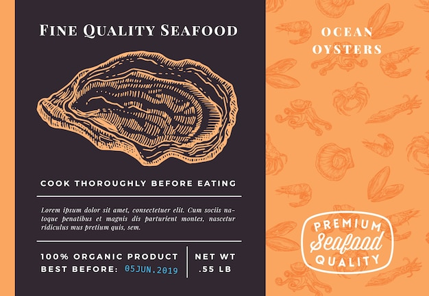 Premium quality seafood oysters verpackungsvorlage