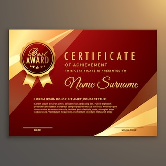 Premium red Zertifikat und Diplom Vorlage Design Vektor