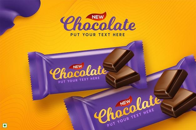 Premium-schokoladenwerbung in der 3d-illustration