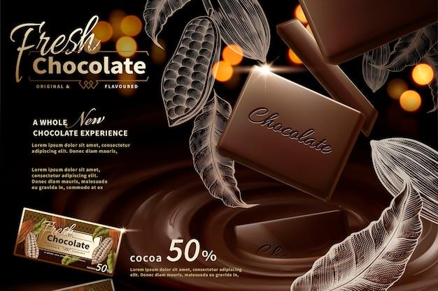 Premium-schokoladenwerbung mit gravierten kakaopflanzenelementen