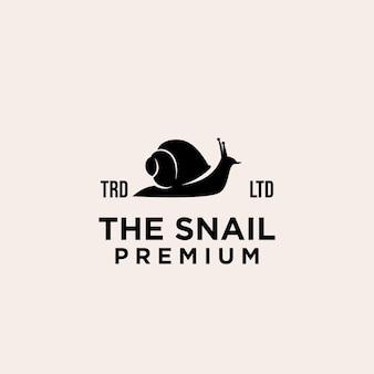 Premium schwarze schnecke vektor-logo-design