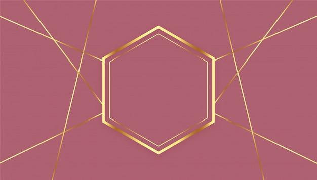 Premium sechseckiger goldener linienrahmenhintergrund