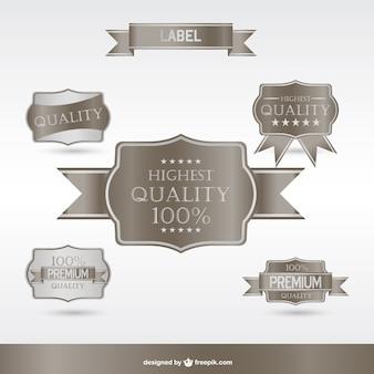 Premium silber etiketten und abzeichen