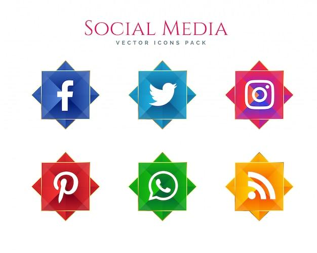 Premium-social-media-icons sammlung