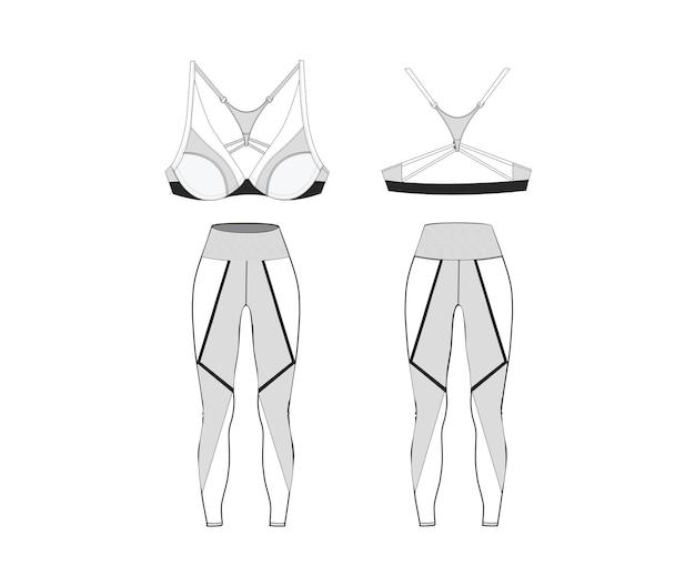 Premium-vektor   damen sport-bh mit leggings fitness-out fit vorder- und rückansicht. premium-vektor