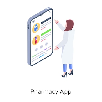 Premium-vektor mobile medizin hilft isometrisches design der apotheken-app
