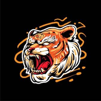 Premium-vektor-tigerkopf-illustration, im modernen cartoon-stil, perfekt für t-shirts oder druckprodukte