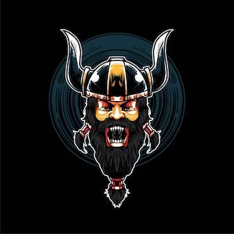 Premium-vektor-wikinger-krieger-illustration im modernen cartoon-stil, perfekt für t-shirts oder druckprodukte