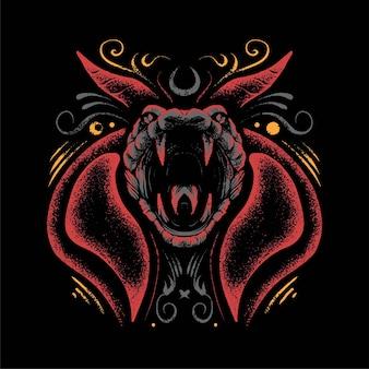 Premium-vektorillustration der satanischen kobra im modernen cartoon-stil, perfekt für t-shirts oder druckprodukte
