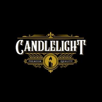Premium vintage candle light flame strichgrafik logo design illustration