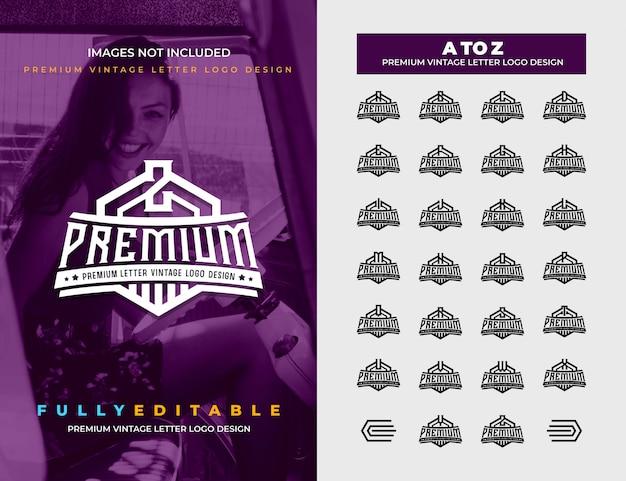 Premium vintage von a bis z all letter logo