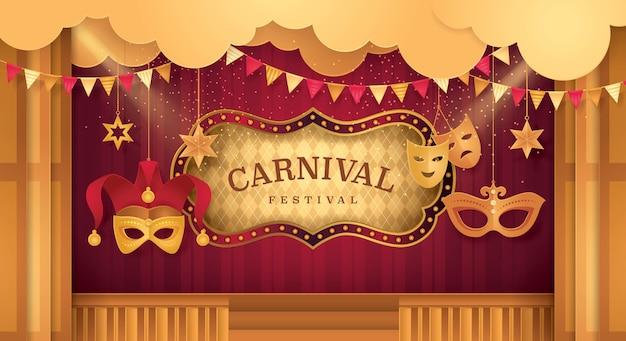 Premium vorhänge bühne mit zirkus rahmen, karneval festival