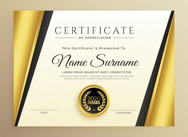 Premium-zertifikat-template-design mit goldenen formen