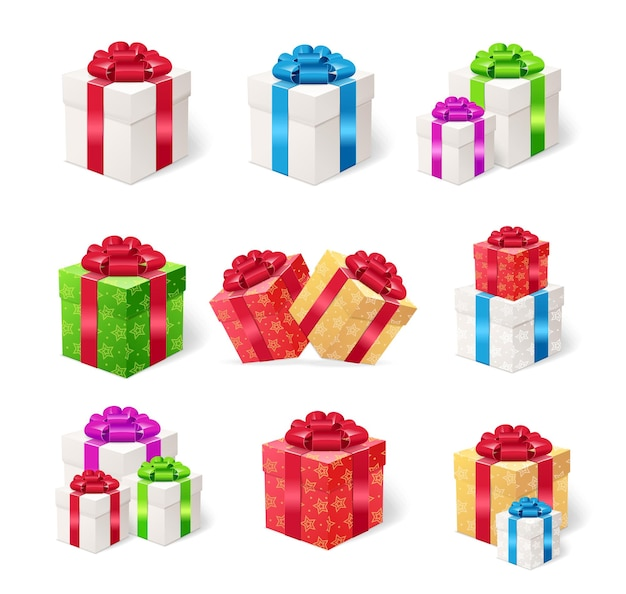 Present boxes set isoliert.