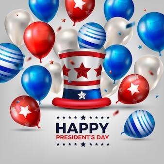 Presidents day-konzept mit realistischen luftballons