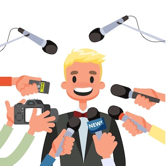Pressekonferenzkonzept. journalist mit dem mikrofon